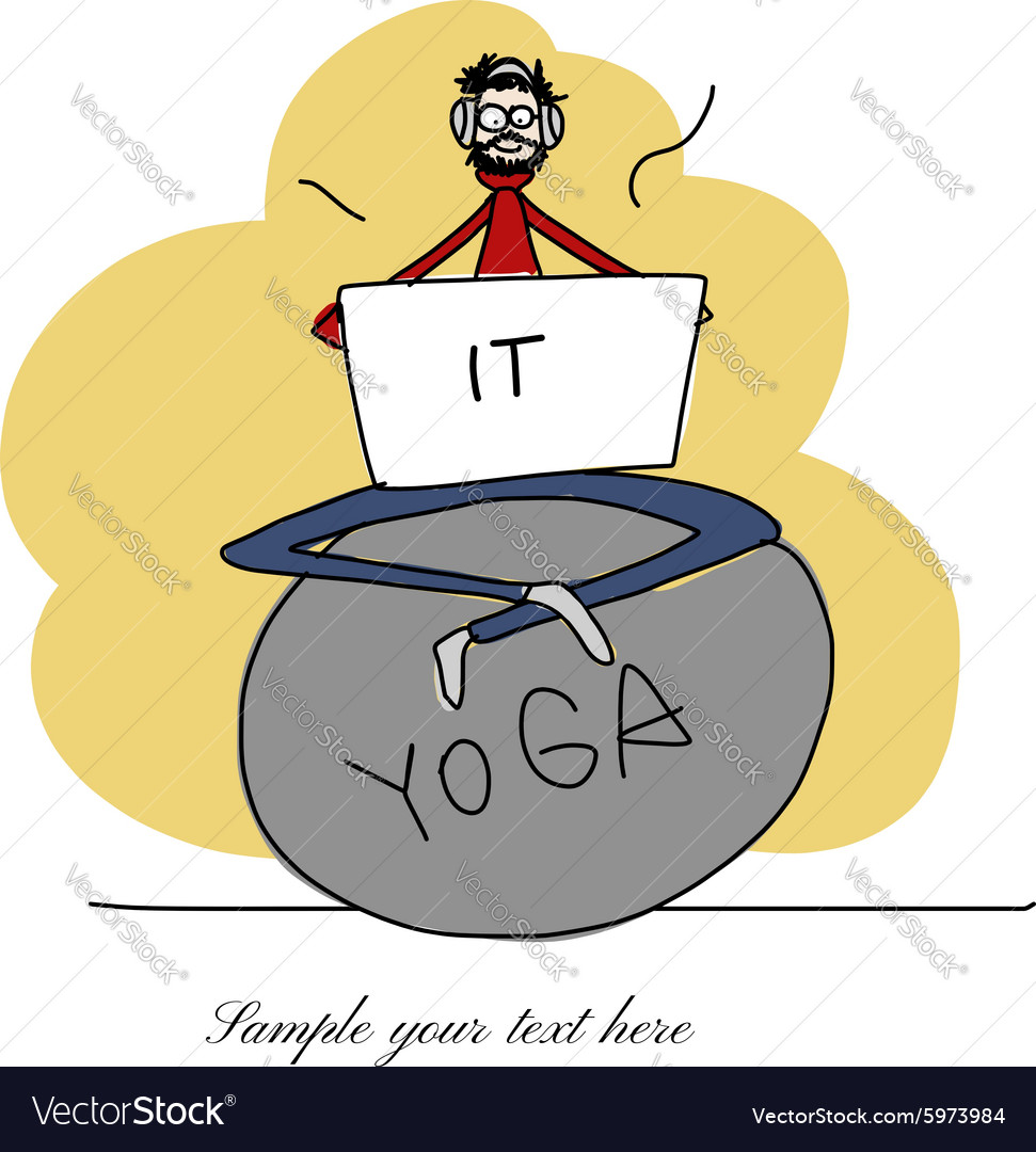 Yoga at work man with laptop for your design vector image