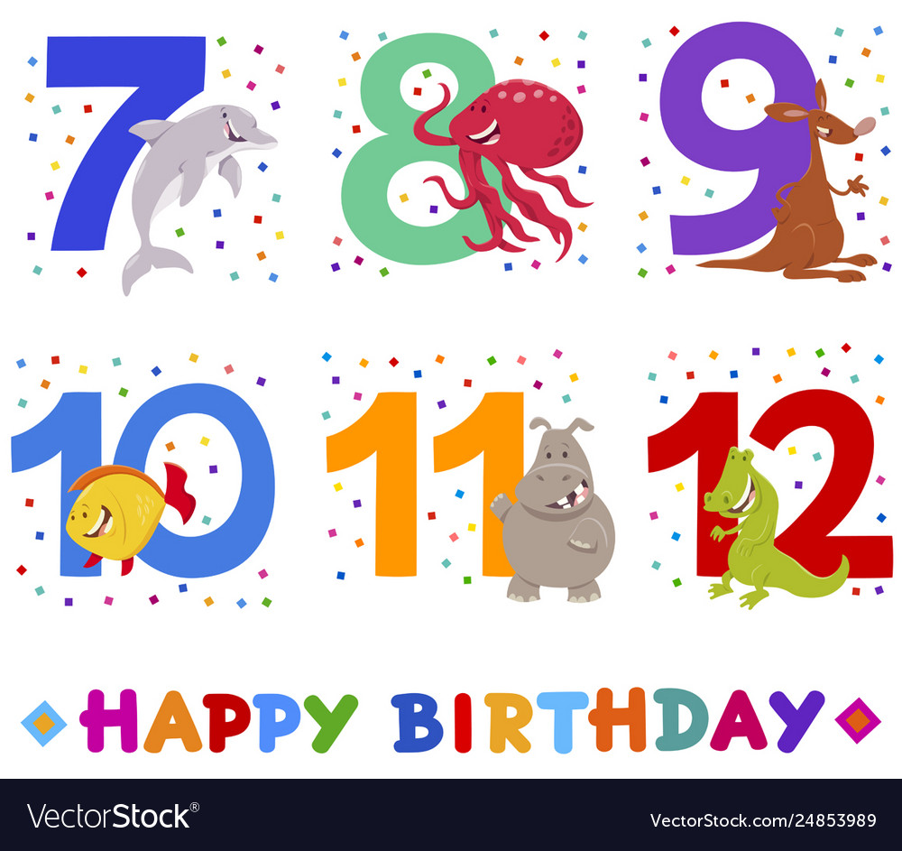 Birthday greeting cards set with cute animals