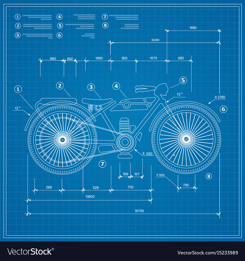 Blueprint plan outline draft motorbike motorcycle vector image