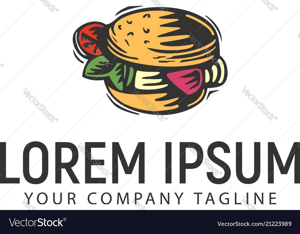 Burger retro hand drawn logo design concept