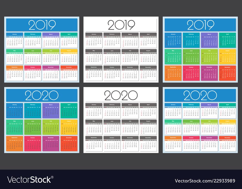 Calendar 2019 and 2020 year