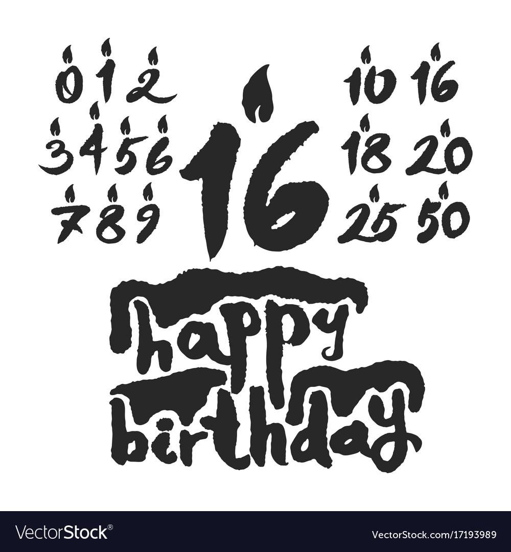 Calligraphy happy birthday cake with candles vector image