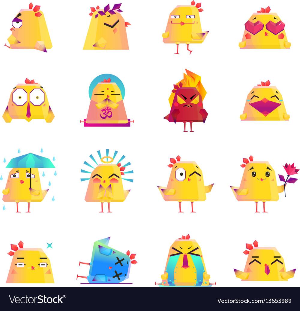 Chicken cartoon character icons big set
