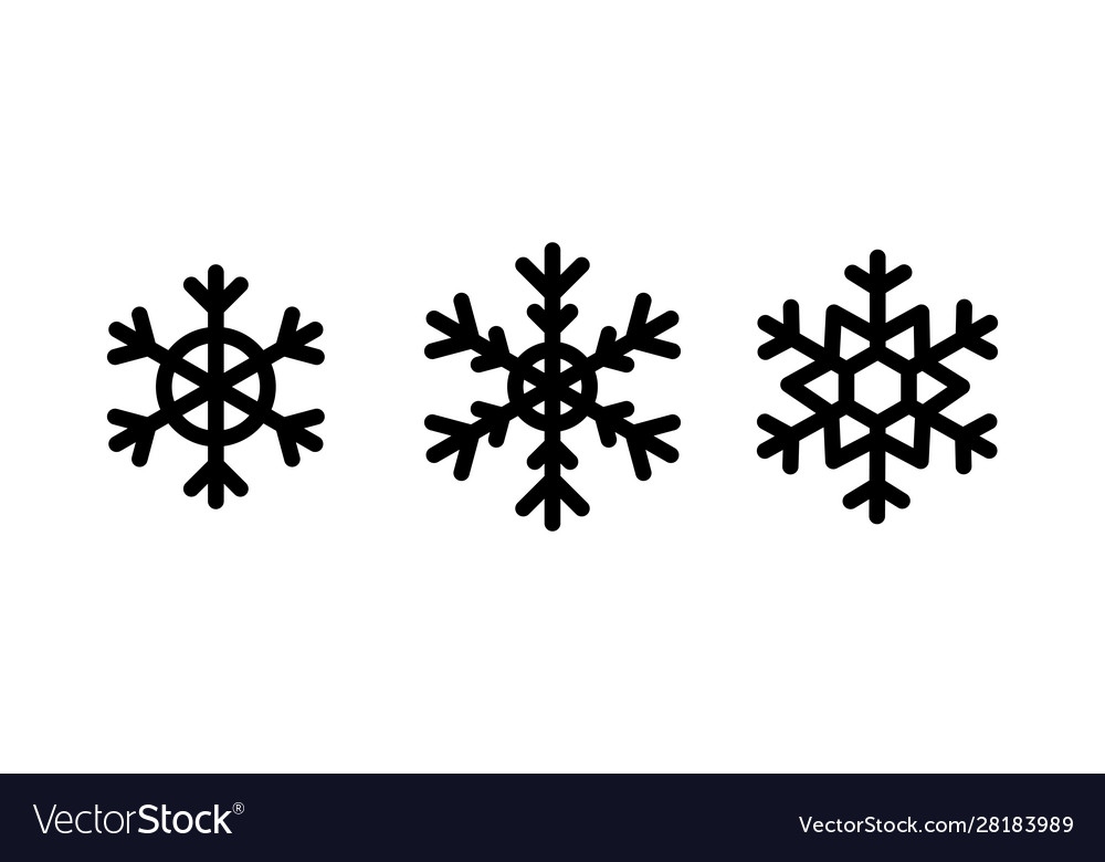 Christmas snowflakes set black color on white