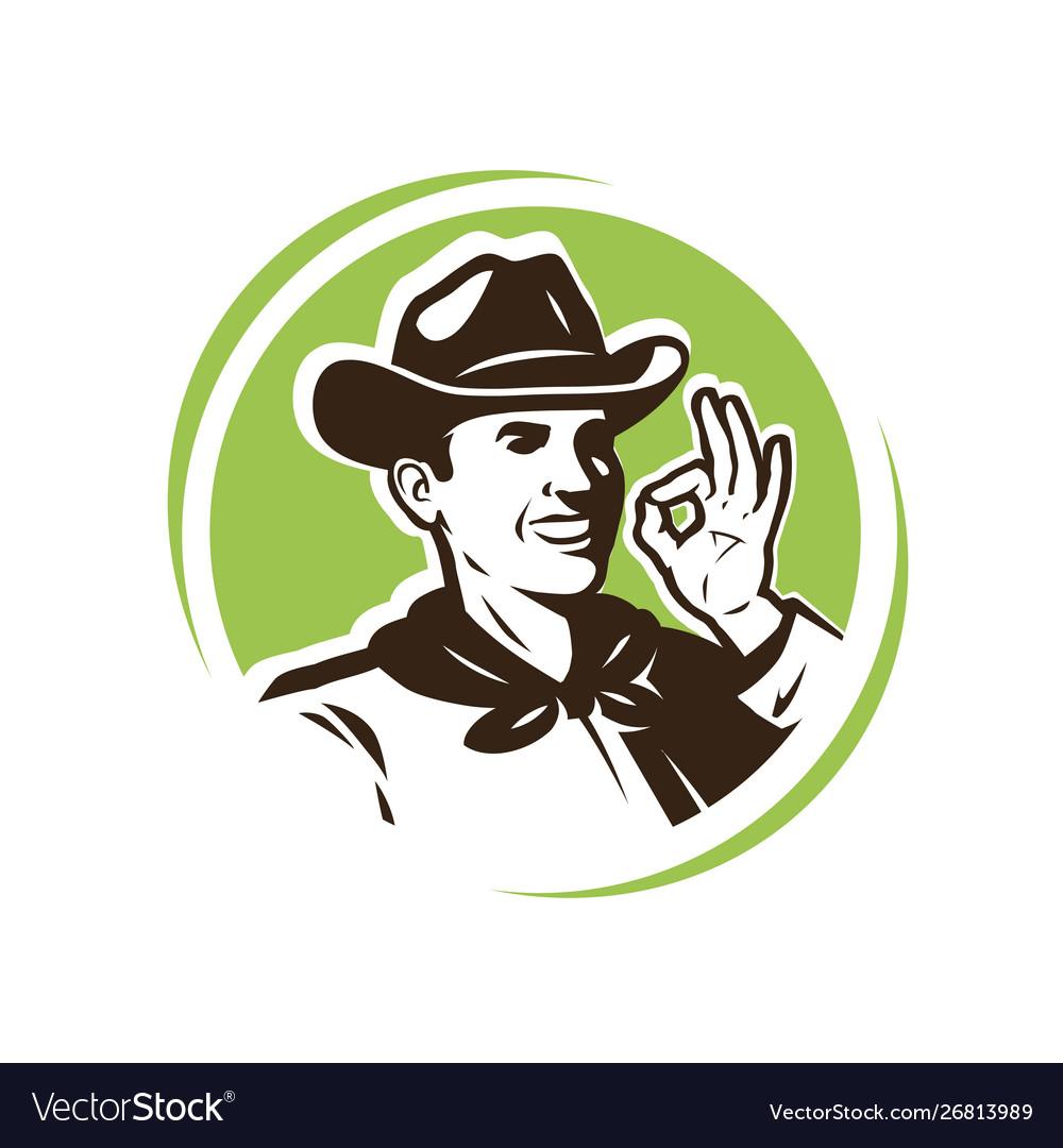 Farmer in hat farm farming logo or emblem