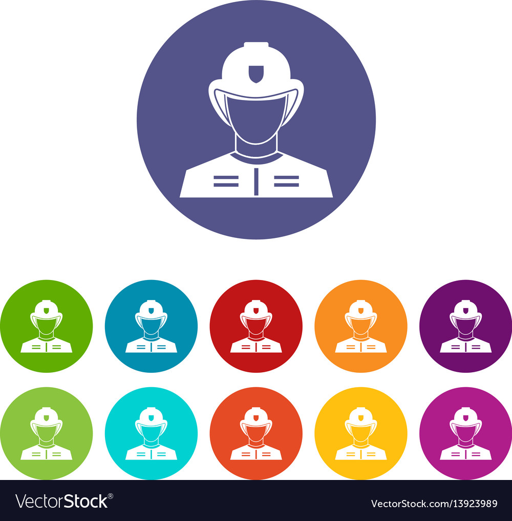 Firefighter set icons vector image