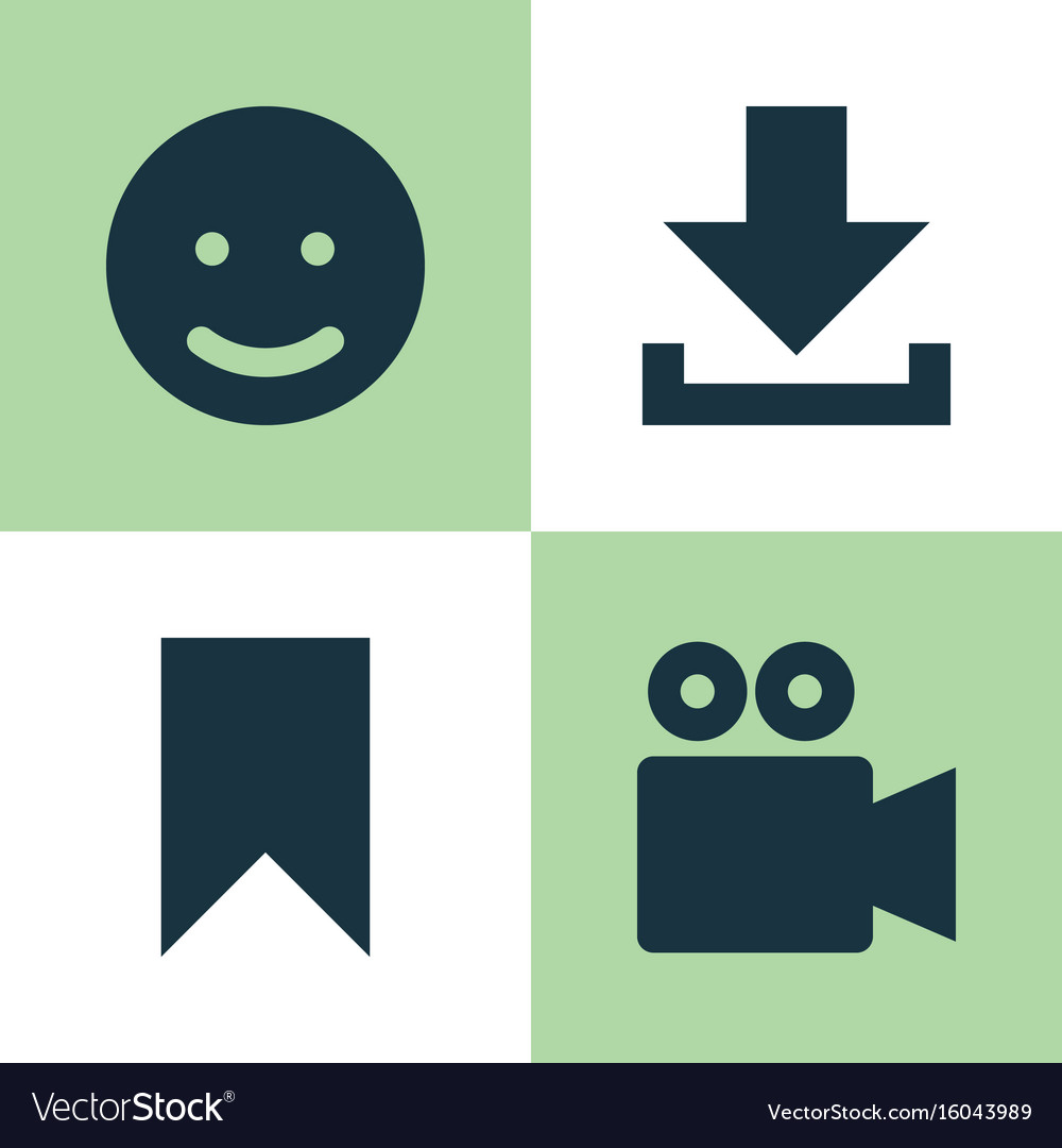 Internet icons set collection of camcorder smile vector image