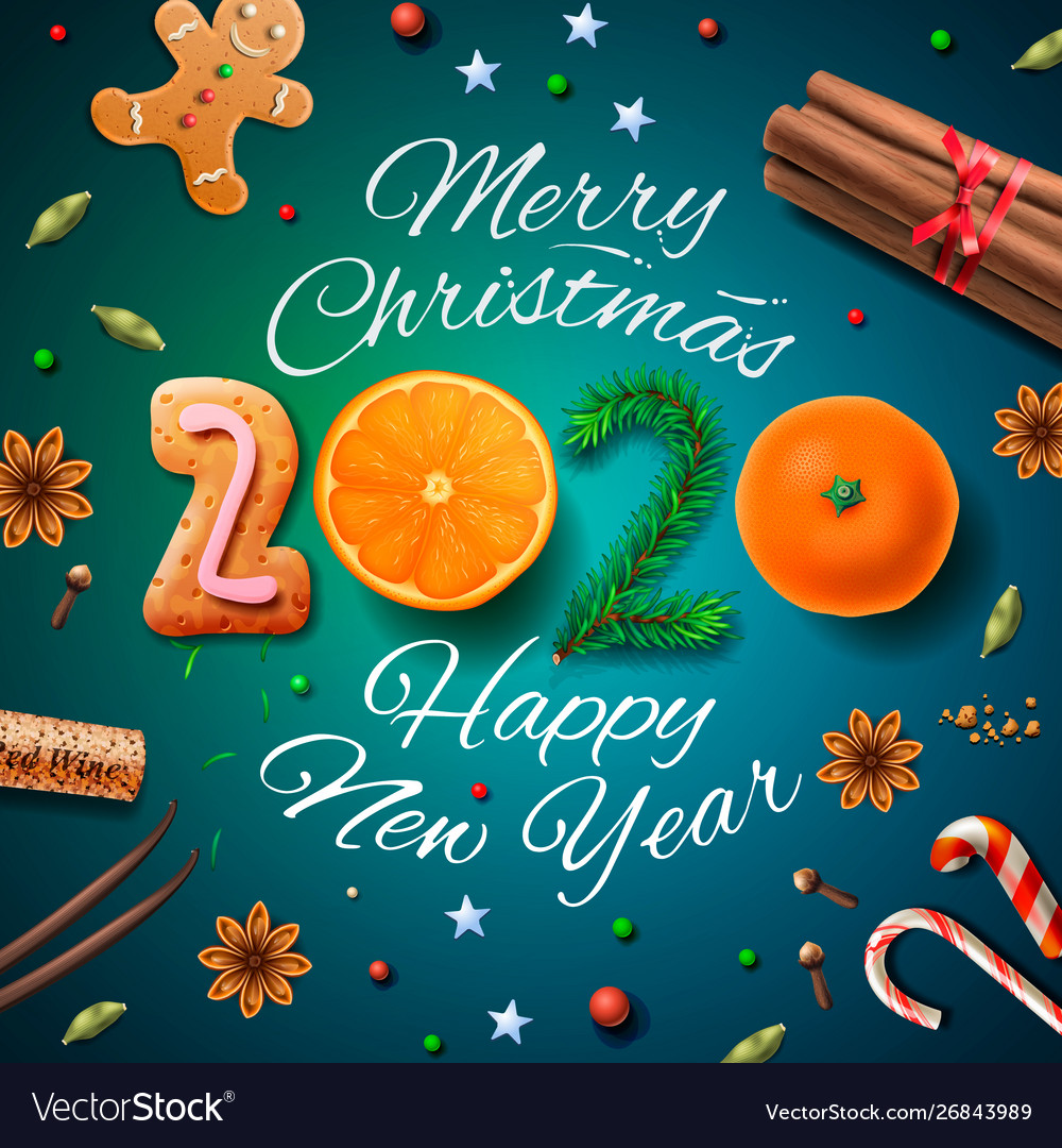 Christmas Happy New Year 2020 Merry christmas happy new year 2020 background Vector Image