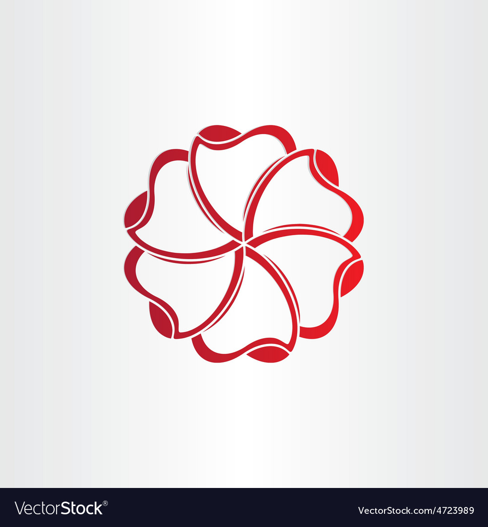 Red hearts in circle icon