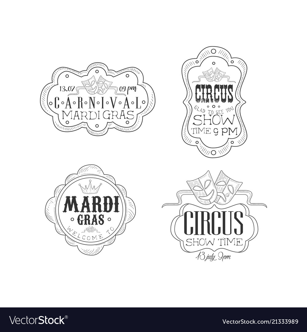 Set of black and white emblems for circus