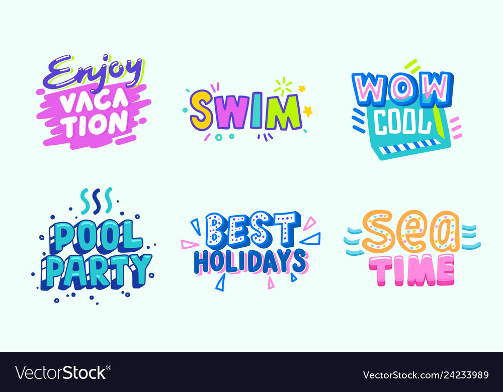 Summer beach vacation tropical banner design set