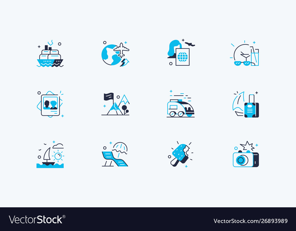 Travelling icons set