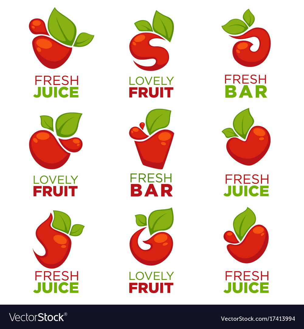 Apple cherry fruit and fresh juice collection
