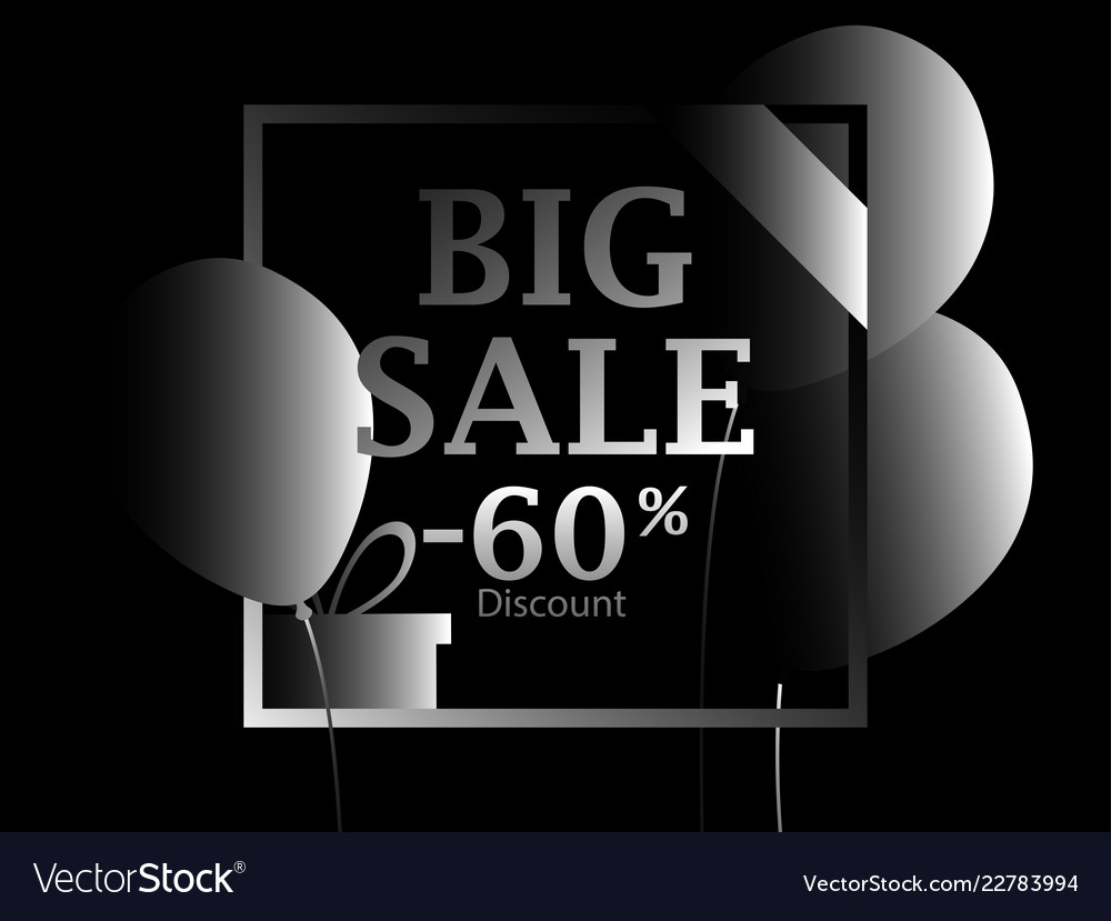 Black friday big sale poster with black balloons