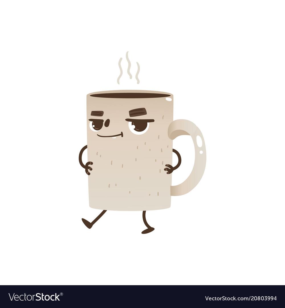 Coffee or tea cup cartoon character dancing and
