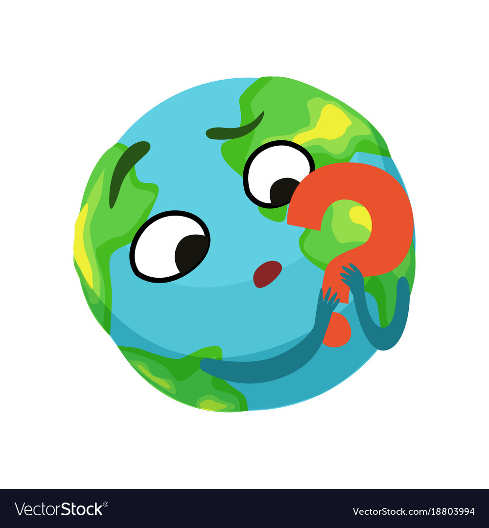 Doubting earth planet character holding red