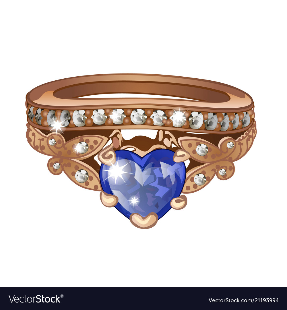 Exclusive ring made of gold with inlaid blue