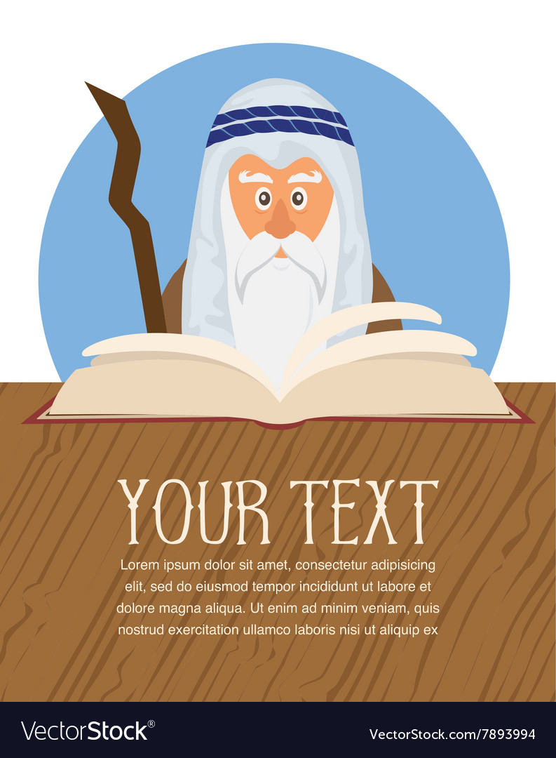 Moses reading Passover Haggadah