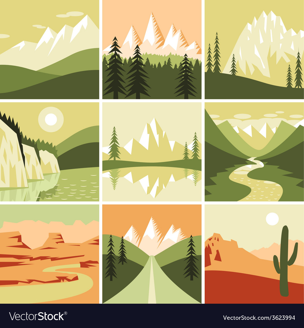 Nature Mountain Icons vector image