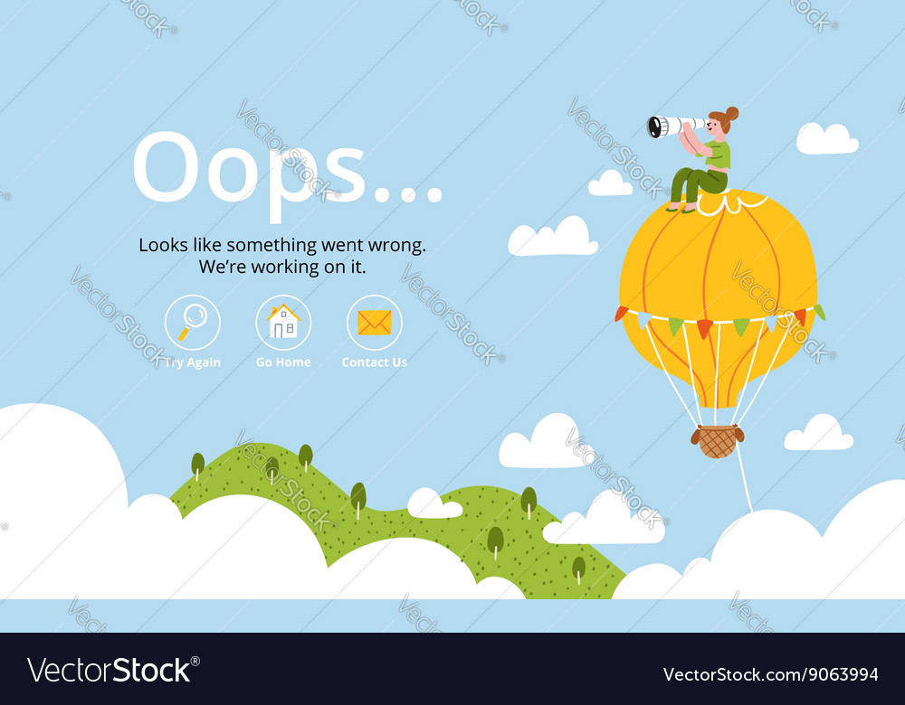 Oops error page with hot air balloon