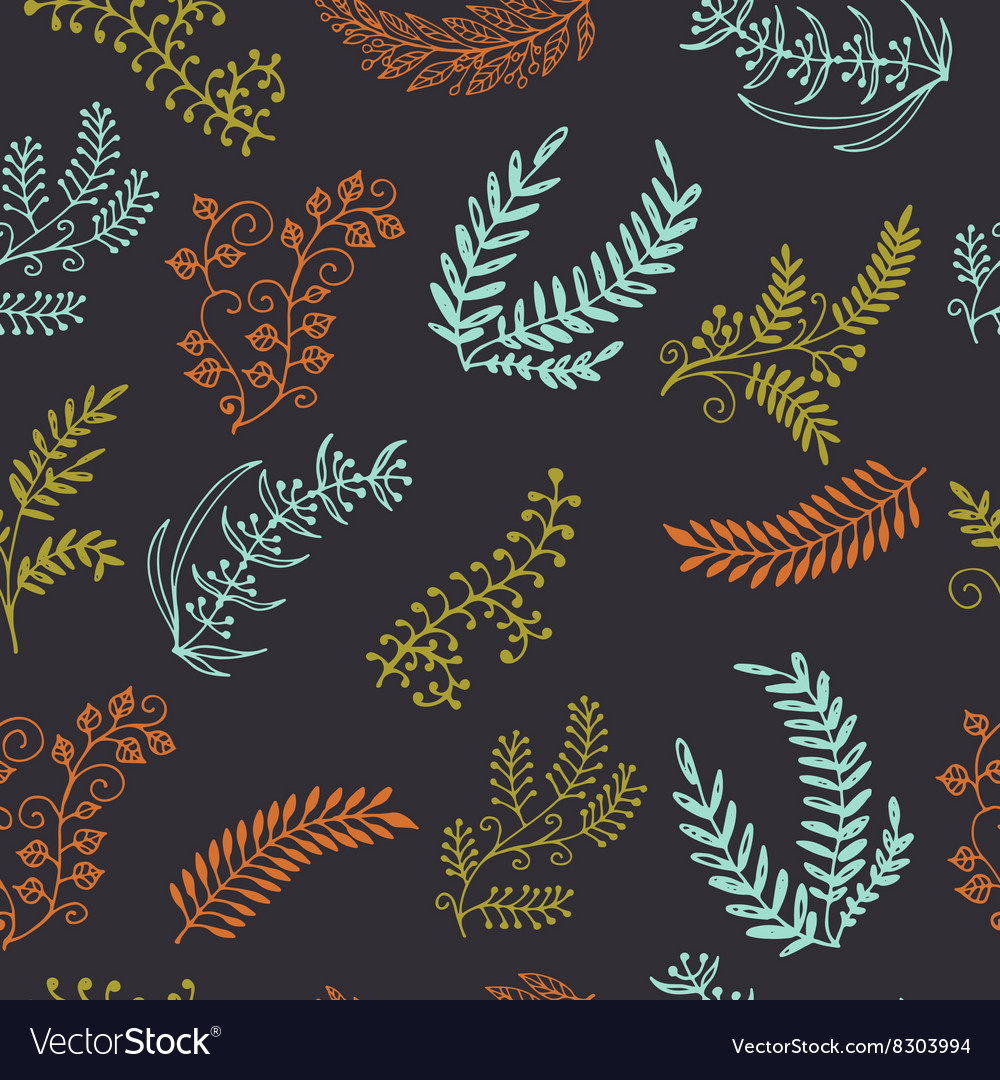 Retro green leaves on branches on dark background vector image