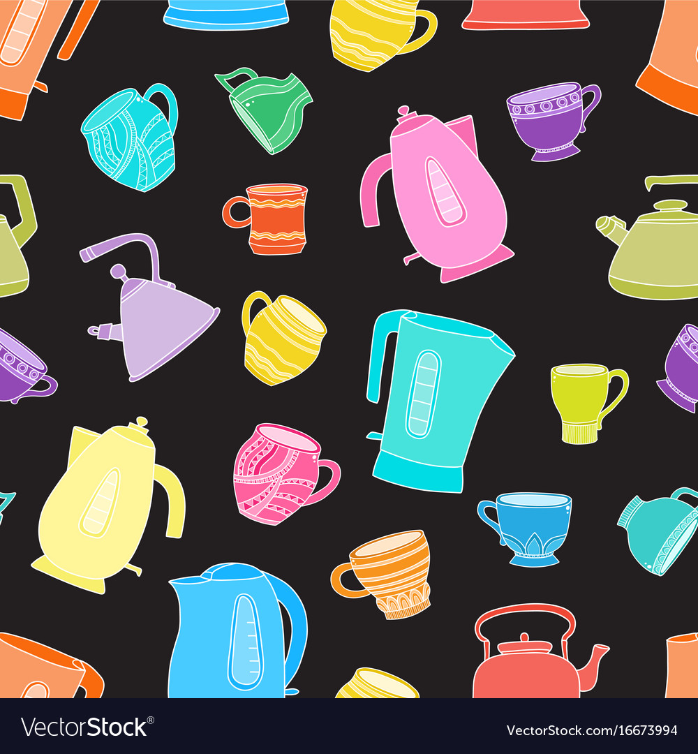 Seamless pattern with cups of tea and