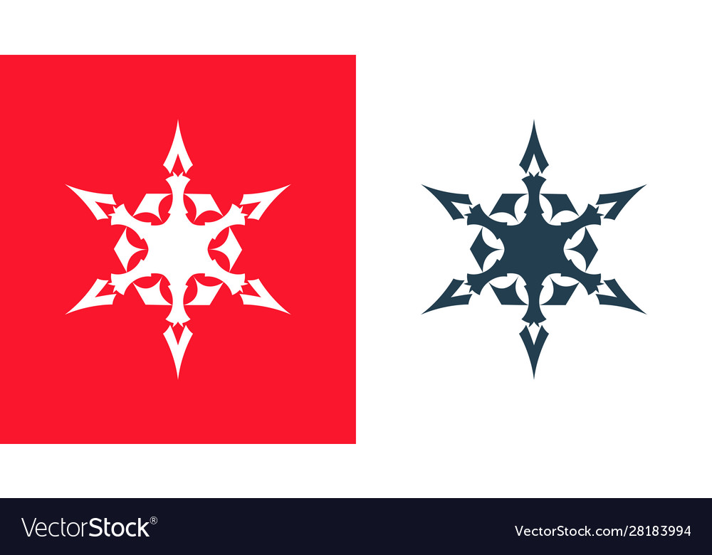 Snowflakes icon set isolated on red and white