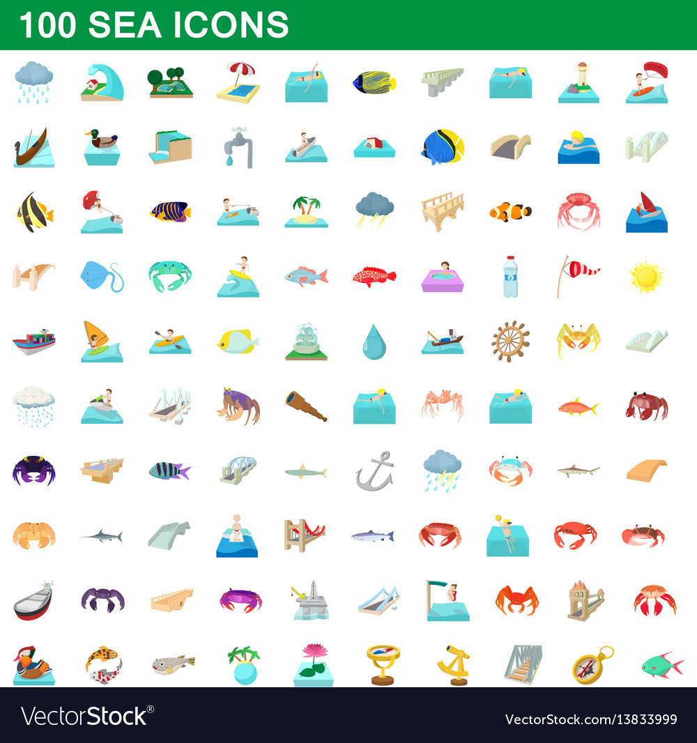 100 sea icons set cartoon style