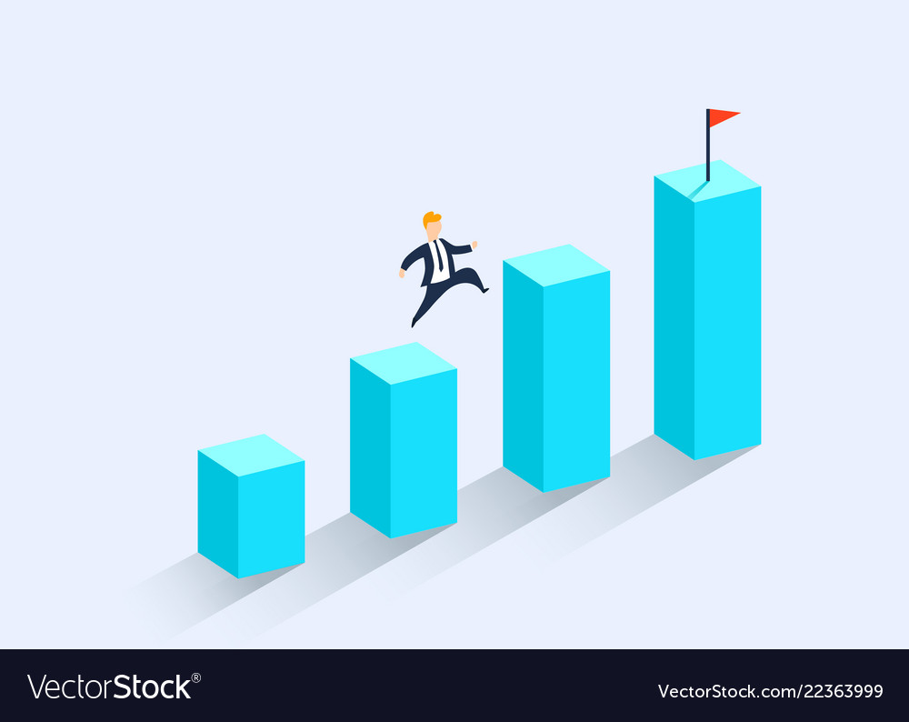 A businessman standing on a financial chart looks