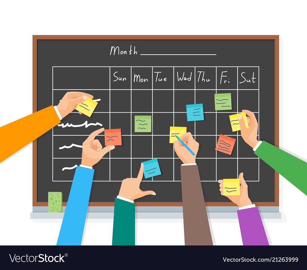 Cartoon business team writing blackboard