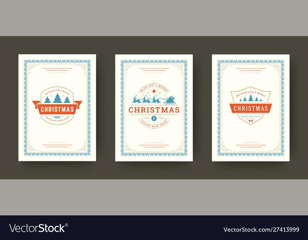 Christmas greeting cards set vintage typographic