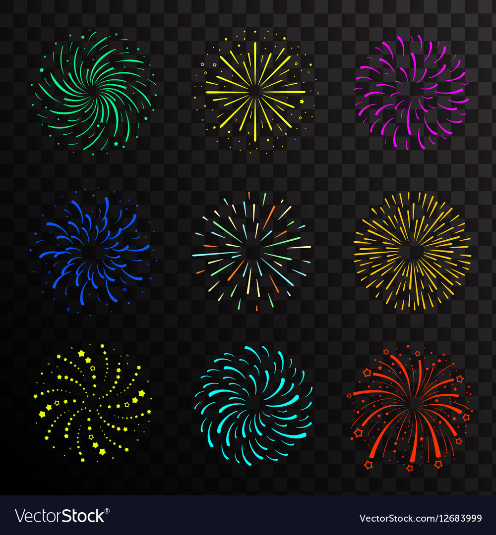 Colorful festive firework balls sparklers salute vector image