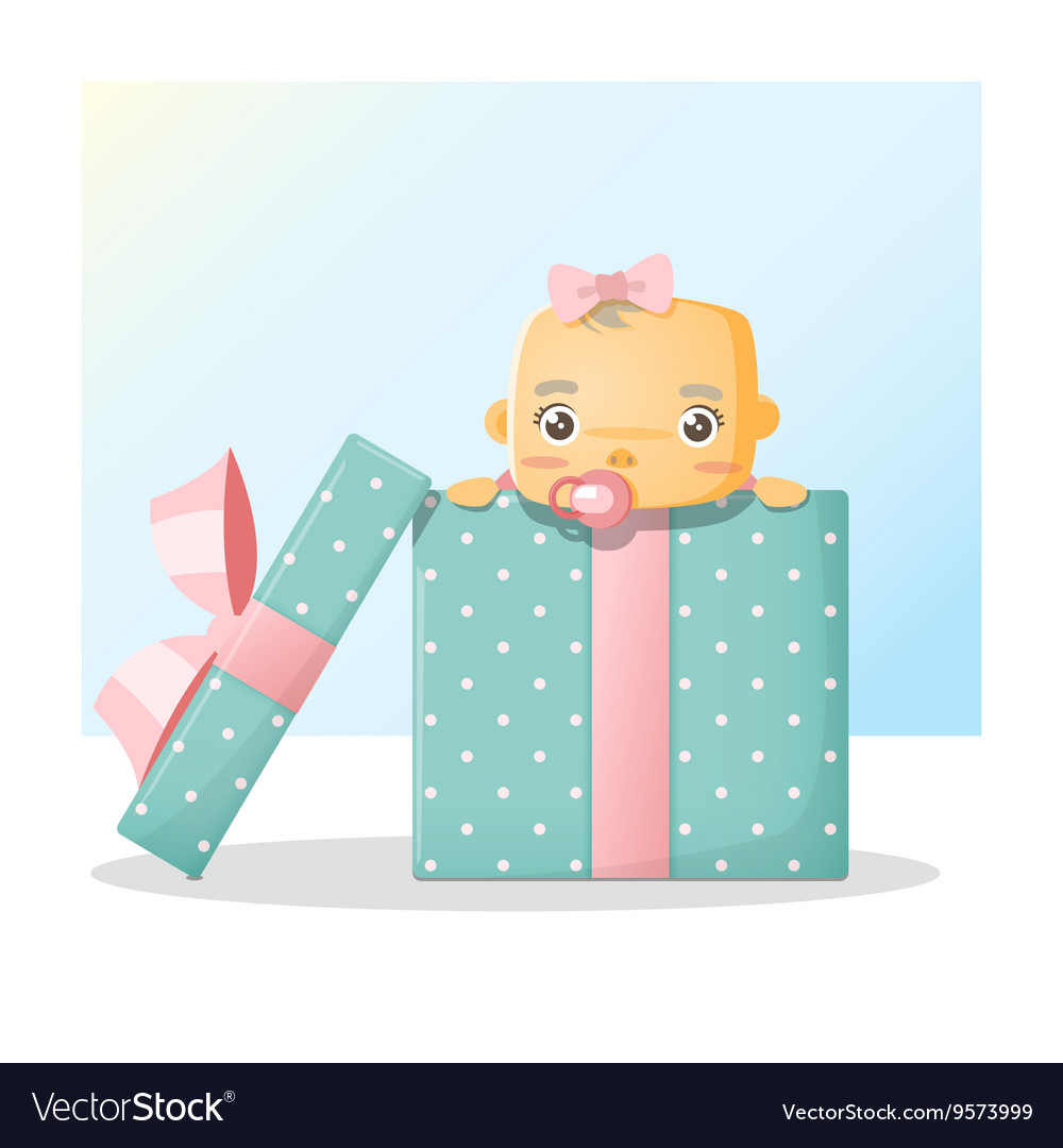 Cute baby inside gift box background 2 vector image