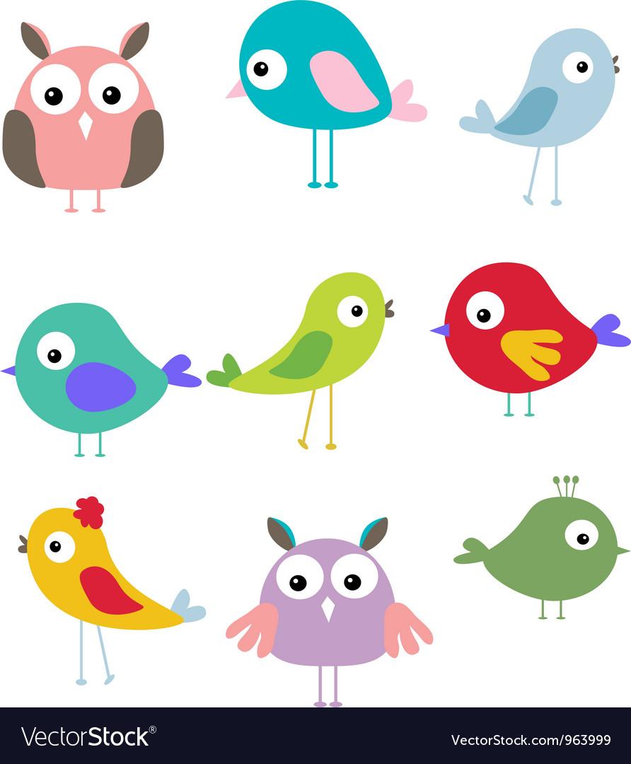 Cute bird cartoon set