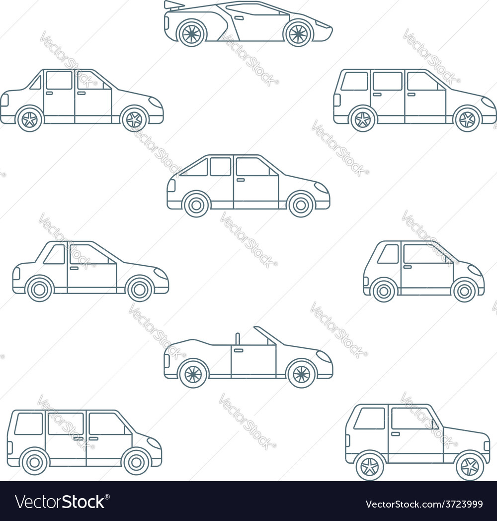 All Types Of Cars >> Dark Outline Various Body Types Of Cars Icons