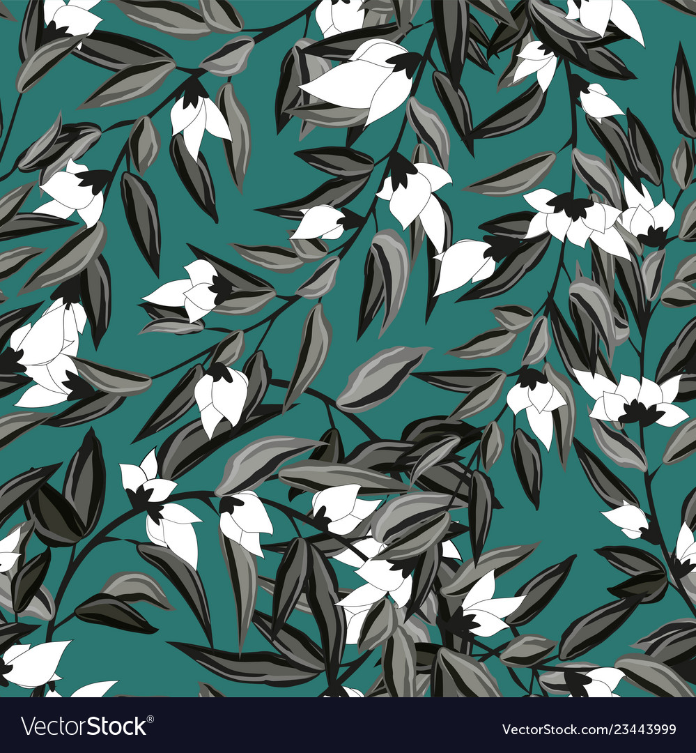 Floral seamless pattern blooming white flowers