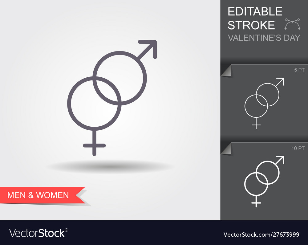 Gender male and female crossed line icon with