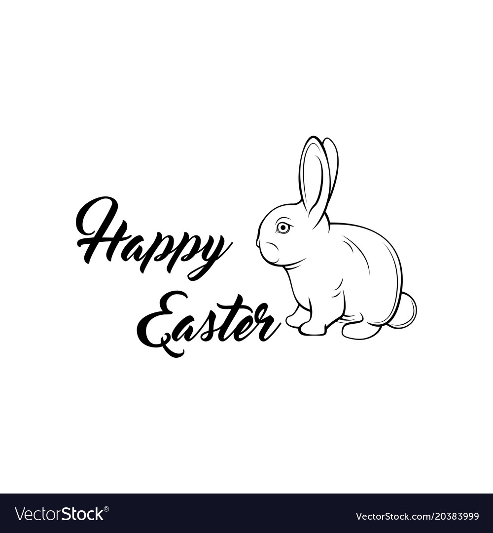 Greeting card with with white easter bunny