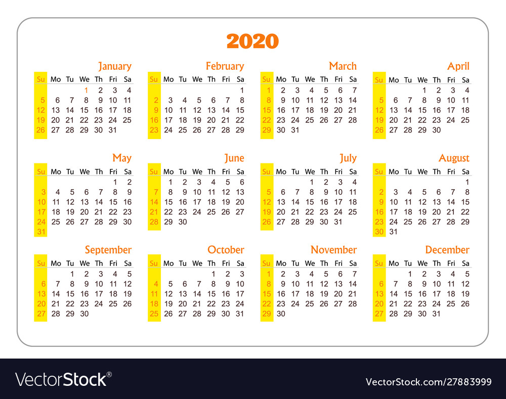 Horizontal pocket calendar on 2020 year