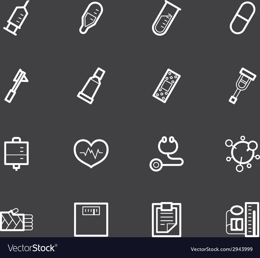 Hospital element white icon set on black backgroun vector image