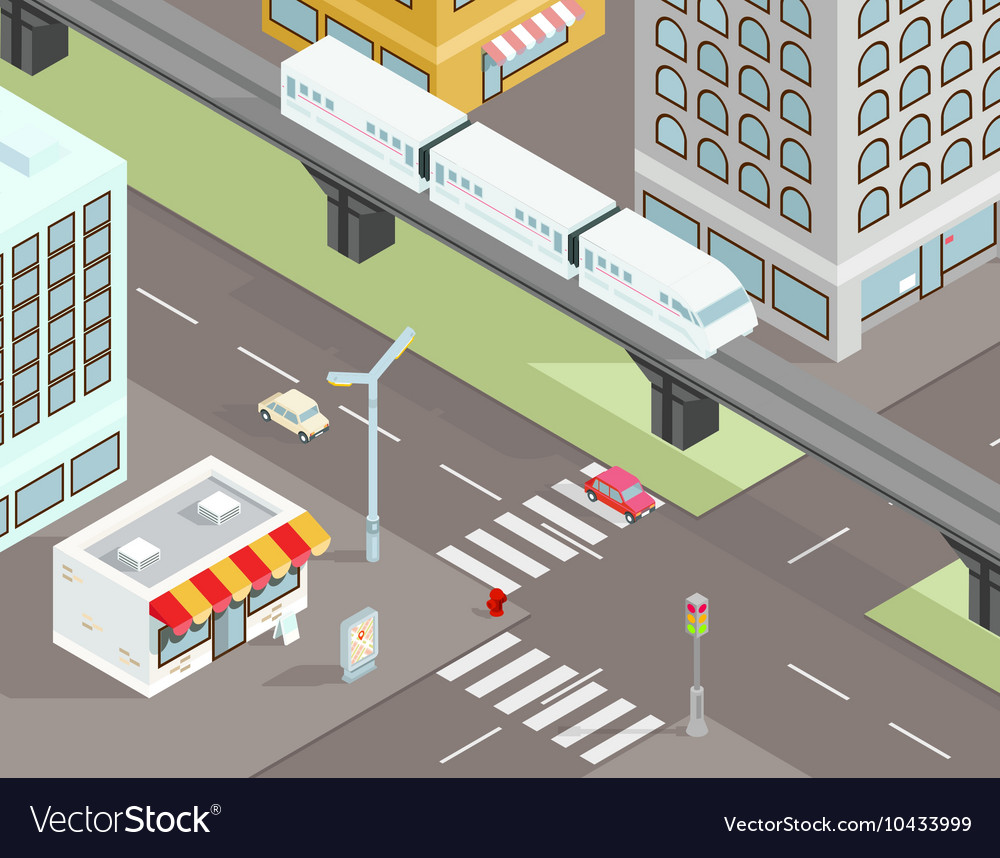 Isometric city street with transport