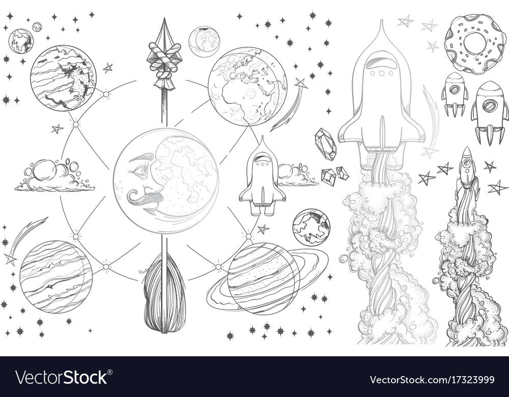 Planets of the solar system vintage royalty free vector planets of the solar system vintage vector image ccuart Choice Image