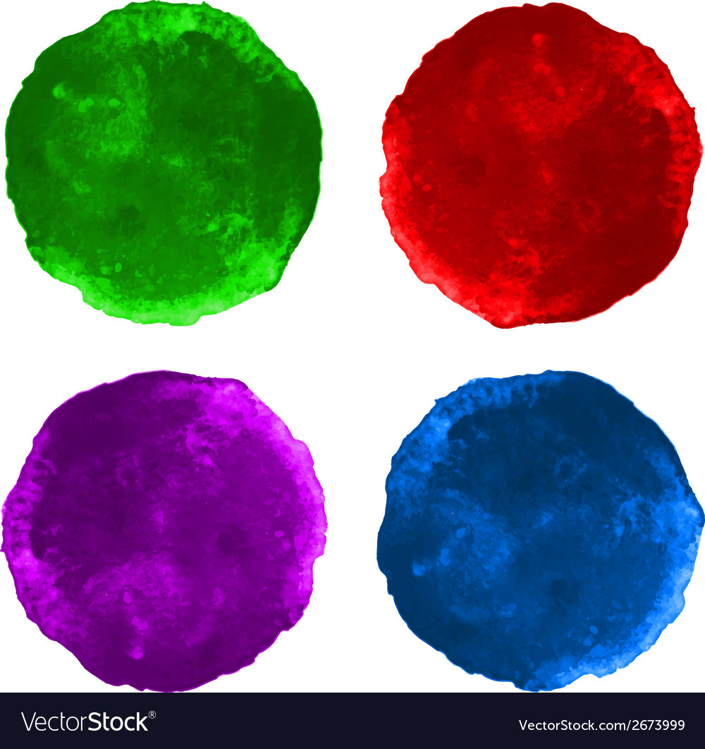 Set colorful watercolor circular backgrounds