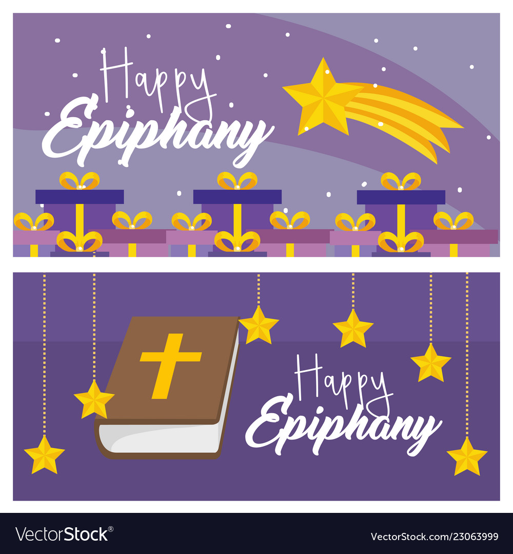 Set happy epiphany with presents and bibble with