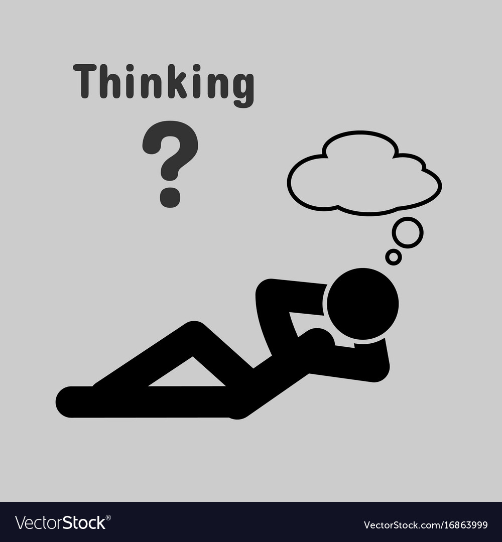 Symbol of people lying thinking