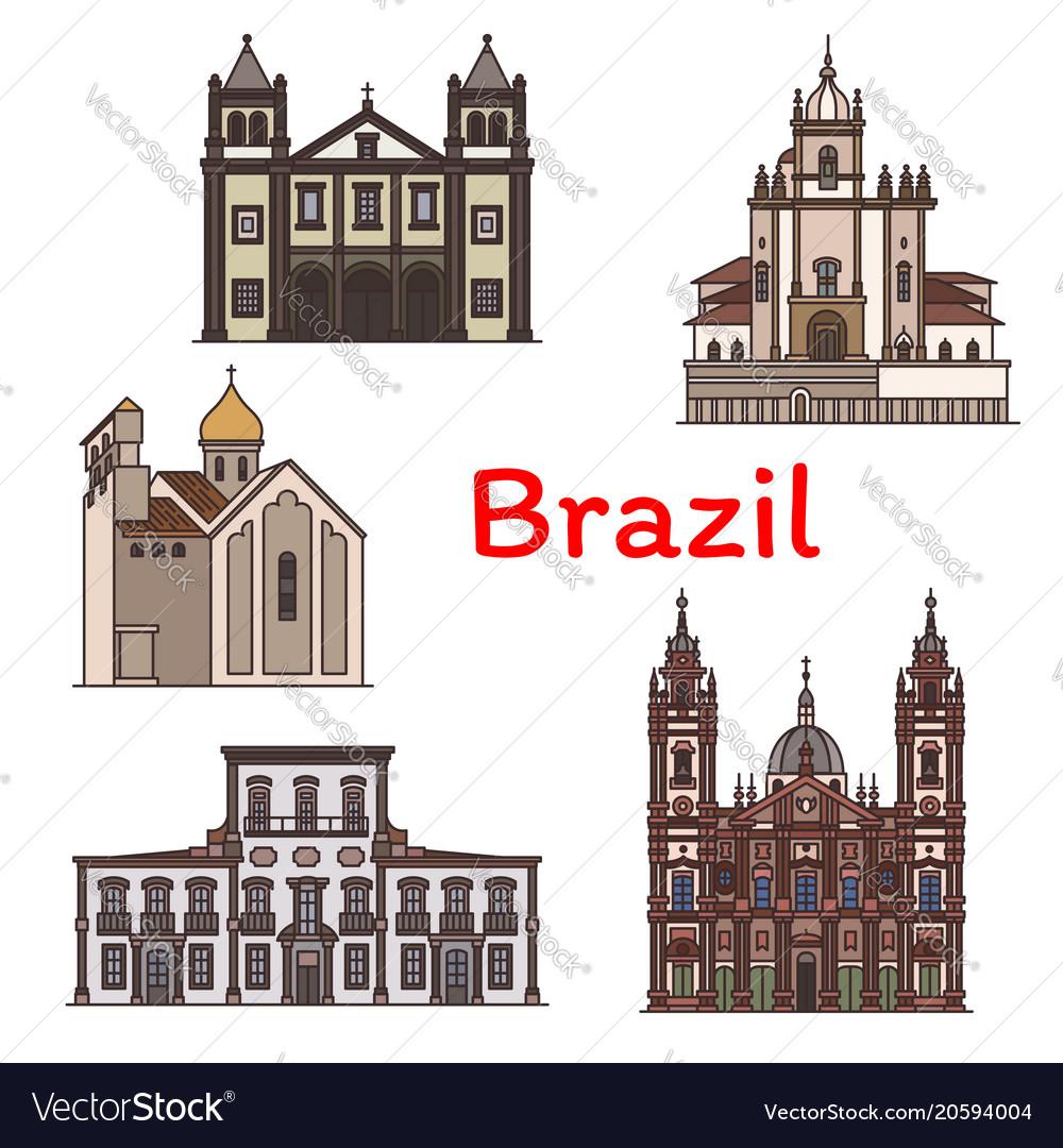 Brazilian travel landmark of rio de janeiro icon