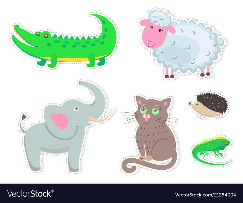 Cartoon animals stickers isolated