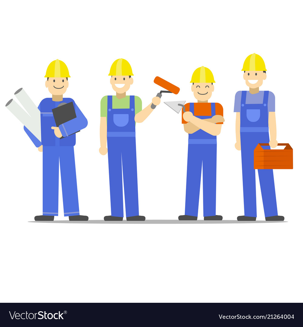 Cartoon characters construction worker group set