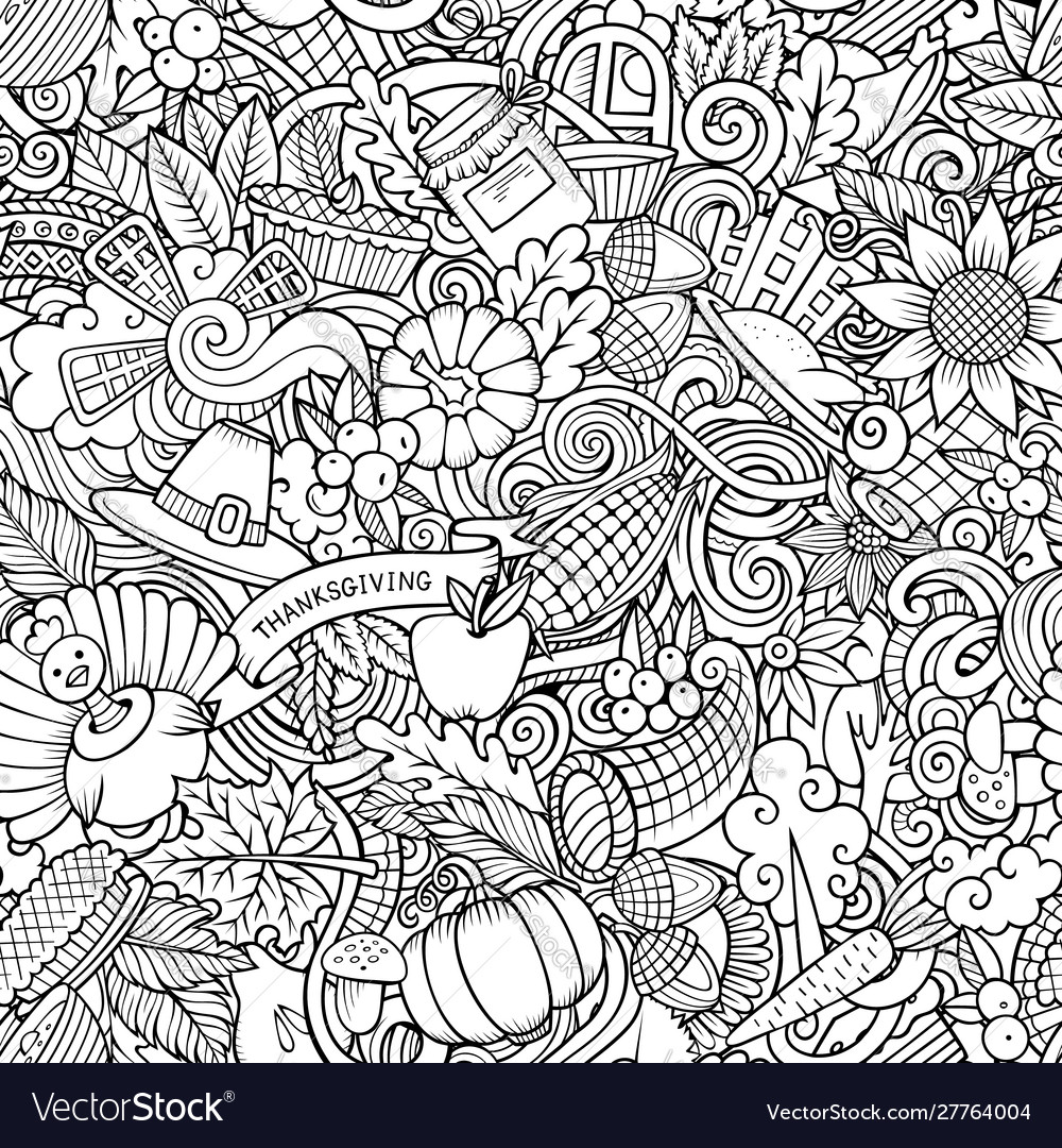 Cartoon cute doodles hand drawn happy thanksgiving