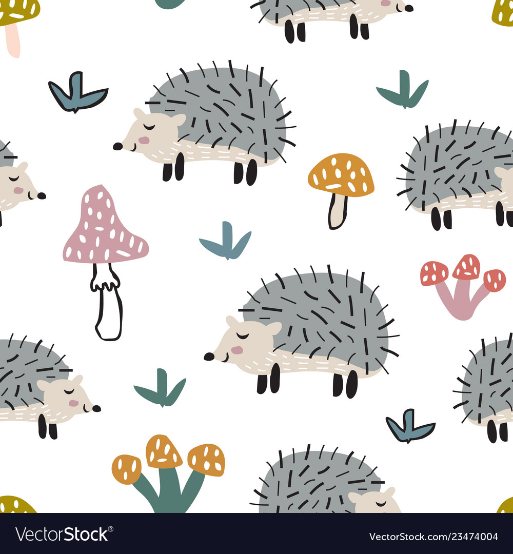 Childish seamless pattern with cute hedgehog and